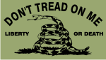 DONT TREAD ON ME BLACK ON OD GREEN PCX PATCH