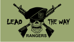 RANGERS LEAD THE WAY BLACK ON OD GREEN PCX PATCH