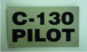 "C-130 PILOT 3 1/2"" 2"" MAGIC BLACK ON TAN"