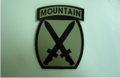 10TH MOUNTAIN 2 5/8 X 3 1/2 TAN ON MAGIC BLACK