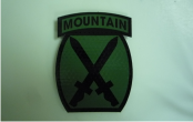 10TH MOUNTAIN 2 5/8 X 3 1/2 OD GREEN ON MAGIC BLACK