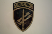 AIRBORNE LARGE SHIELD 2 1/2 X 3 3/4 TAN ON MAGIC BLACK