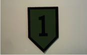 1ST INFANTRY 2 1/2 3 3/4 MAGIC BLACK ON OD GREEN