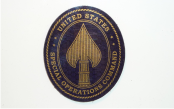 SPECIAL OPERATIONS COMMAND 2 1/2 X 3 METTALIC GOLD ON MAGIC BLACK
