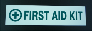 FIRST AID KIT DECAL 9X2