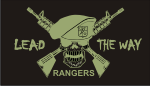 RANGERS LEAD THE WAY GREEN ON BLACK PCX PATCH