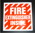 REFLECTIVE FIRE EXTINGUISHER INSIDE 4X4 DECAL