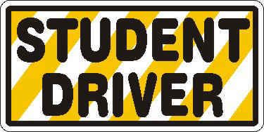 photo relating to Student Driver Sign Printable known as College student Driver Indicators