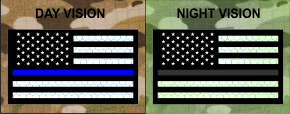 THIN BLUE LINE FORWARD USA REFLECTIVE SOLAS PATCH