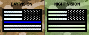 THIN BLUE LINE REVERSE USA REFLECTIVE SOLAS ON BLACK NONREFLECTIVE BLUE