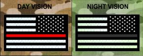 THIN RED LINE REVERSE USA REFLECTIVE SOLAS ON BLACK VELCRO PATCH