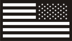 USA FLAG REVERSE WHITE ON BLACK PCX PATCH