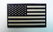 USA RIGHT FLAG TAN ON MAGIC BLACK 3 1/2 X 2 1/8