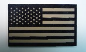 USA RIGHT OLD TAN ON MAGIC BLACK 3 1/2 X 2 1/8