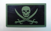 CALICO JACK GREEN ON MAGIC BLACK 3 1/2 X 2