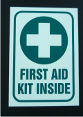 FIRST AID KIT INSIDE 5 X 3.5 DECAL