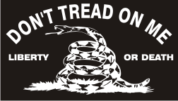 DONT TREAD ON ME WHITE ON BLACK PCX PATCH
