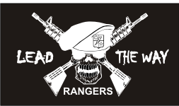 RANGERS LEAD THE WAY WHITE ON BLACK PCX PATCH
